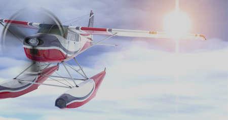 Retro seaplane. 3D render. Against the sky Stock Photo