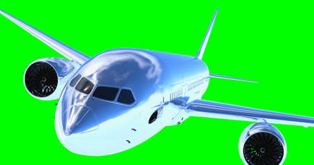 Flying a plane on a green screen. 3D render. Isolated