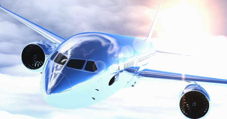 Plane flying above the clouds. 3D render. Stock Photo