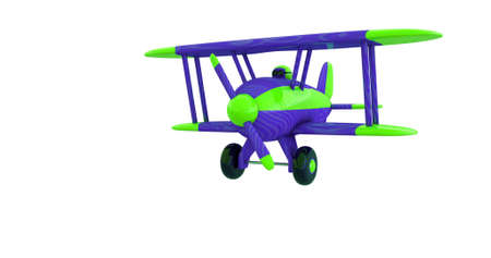 Flying a toy plane on a white screen. 3D render. Isolated