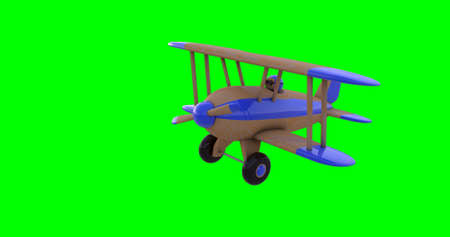 Flying a toy plane on a green screen. 3D render. Isolated Stock Photo