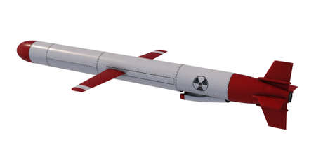 Nuclear Cruise missile isolated on white background. 3D render Imagens