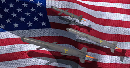 Nuclear Cruise missile on the background of the American flag. 3D render