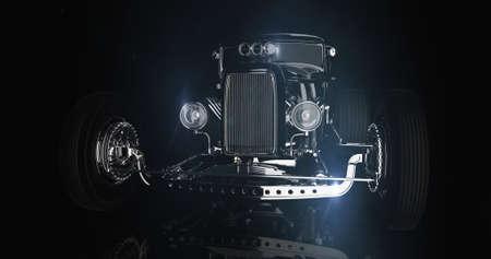 Hot rod black on dark background. 3D render Stock Photo