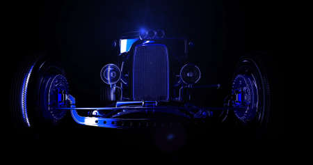 Hot rod black on dark background. 3D render Banque d'images