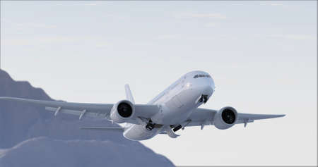 Commercial Jet Plane takes off. Landing gear down 3D render