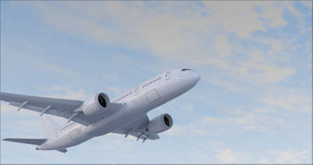 Commercial Jet Plane takes off 3D render Banque d'images