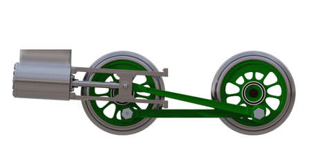 The wheels of the locomotive with the rods and the steam cylinder on white. 3D render