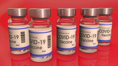 Ampoules with Covid-19 vaccine. Coronavirus sars-cov-2 pandemic. 3D render