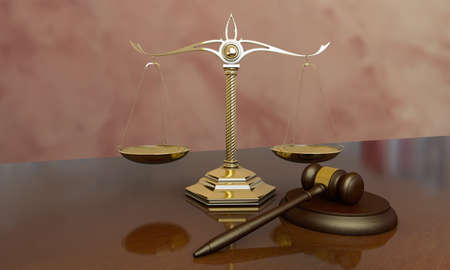 Judge gavel and scales closeup. 3D render Banque d'images