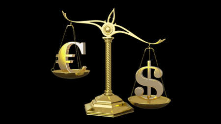 Golden euro and dollar signs 3D render Banque d'images