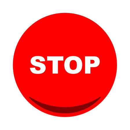 Stop button icon flat . Vector illustration