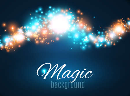 starfield: Magic Space. Fairy Dust. Infinity. Abstract Universe Background. Blue Background and Shining Stars. Vector illustration .