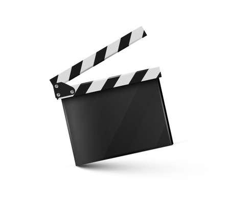 Clapper.cinema.Board réaliste sur une illustration background.film.time.vector blanc.