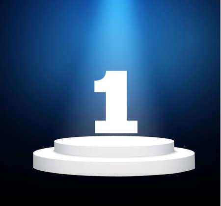 número uno.podium .lit escena blanca. el podio de winners.vector illustration.spotlight.