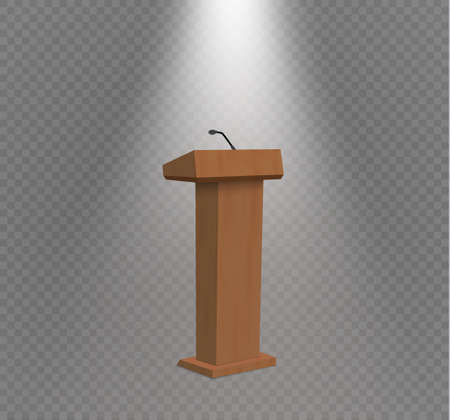 A Vector Podium Tribune Rostrum Stand with Microphones Isolated.