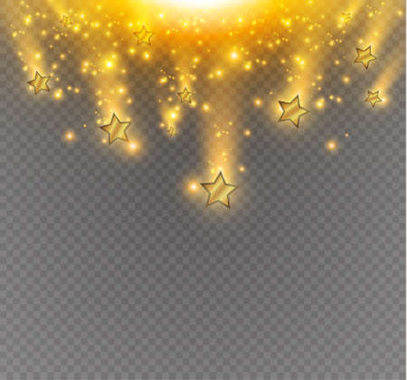 fire works: Salute of yellow stars on a transparent background.Vector illustration.Light effects.