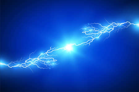 Set of lightnings. Magic and bright lighting effects. Vector Illustration