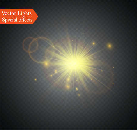 special effect: Abstract lens gold front solar flare transparent special light effect design. Vector motion blur glare glow.