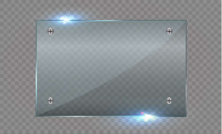 gloss banner: Set of glass plates. Vector glass banners on a transparent background.transparency.for publicity Stock Photo