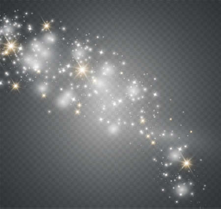 Dust on a transparent background.bright stars.The glow lighting effect. vector illustration.the sun is shining. magic