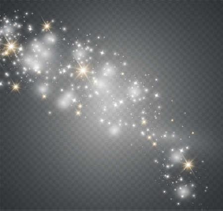 Stof op een transparante achtergrond. Heldere sterren. Het effect van de gloedverlichting. vectorillustratie. de zon schijnt. magie
