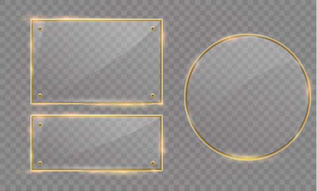 Vector glass modern banner set with shiny golden metallic frame on transparent background Illustration