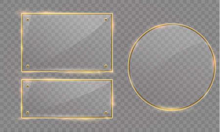 Vector de banner moderno de vidrio con marco metálico dorado brillante sobre fondo transparente Foto de archivo - 80762955