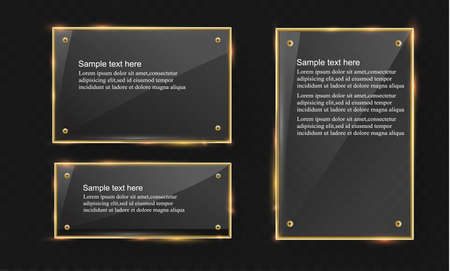 panels: Vector glass modern banner set with shiny golden metallic frame on transparent background Stock Photo