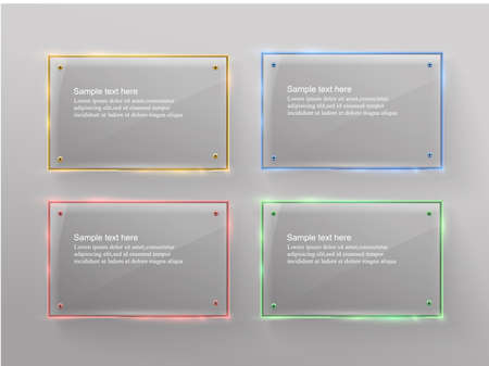 Vector glass modern banner set with shiny golden metallic frame on transparent background 스톡 콘텐츠