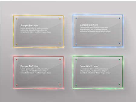 Vector glass modern banner set with shiny golden metallic frame on transparent background Standard-Bild
