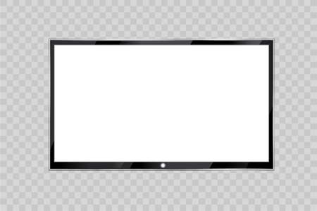 Flat led monitor of computer or black photo frame isolated on a transparent background. Vector blank screen lcd, plasma, panel or TV for your design.