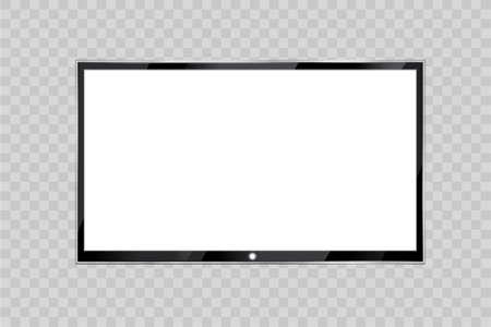 Monitor led plano de computadora o marco de fotos negro aislado en un fondo transparente. Vector pantalla en blanco lcd, plasma, panel o TV para su diseño. Foto de archivo - 80788591