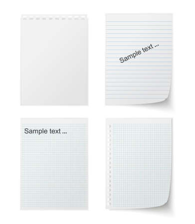 paper pin: Collection of various white papers, leaves for the label ready for Your message. Vector illustration Stock Photo