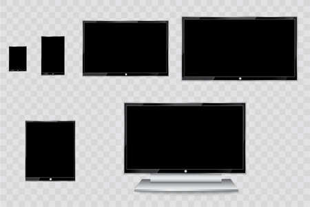 Flat Led Monitor Of Computer Or Black Photo Frame Isolated On ...