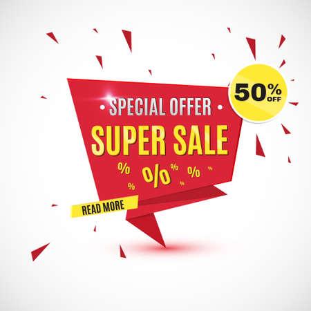 Incredible Wow Sale banner design template. Big super sale special offer, save up to 50 off. Vector illustration. Illustration