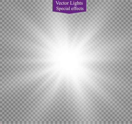 star on a transparent background,light effect,vector illustration. burst with sparkles.Sun.Special effect isolated on transparent background.spark  イラスト・ベクター素材