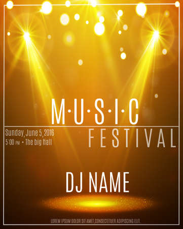 Festival Poster with Spotlight. Concert, Party, Theater,. Empty Scene with Stage Curtain. Poster Template with Light Effect. Vector illustration