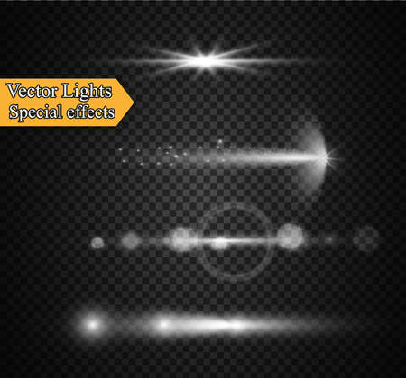 fade: Realistic Lens Flare Elements Collection. Light Effect Transparent Design. Vector illustration
