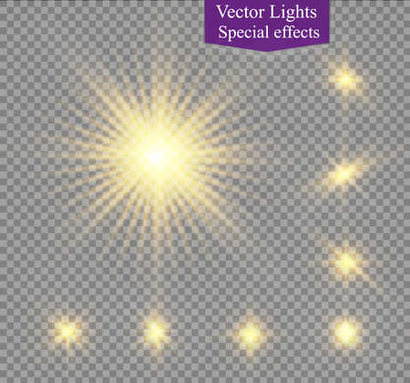 special effects: star on a transparent background,light effect,vector illustration. burst with sparkles.Sun.Special effect isolated on transparent background.spark Illustration