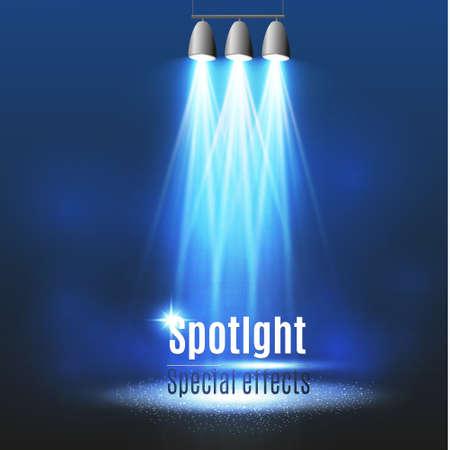 night club interior: Vector spotlight. Light effect.Scene illumination, transparent effects on a plaid dark background.