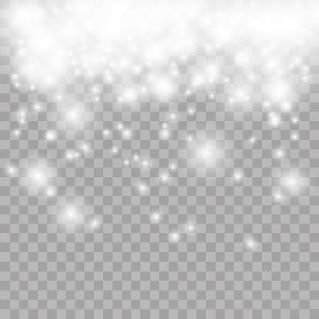 freeze: Vector falling snow effect isolated on transparent background with blurred bokeh.