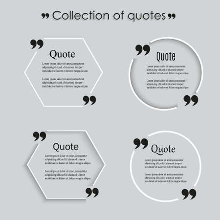 mention: Quote blank template, Empty quote bubble template with print information design quotes. Illustration
