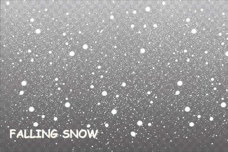 Illustrazione vettoriale illustrazione neve caduta, fiocchi di neve, nevicata, sfondo trasparente, caduta della neve.