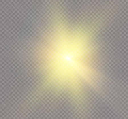 special effect: Star on a transparent background, light effect, vector illustration burst with sparkles.