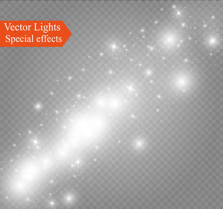 Dust on a transparent background bright stars The glow lighting effect.