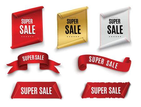 Super Sale Banner Ribbon. Vector Illustration. 일러스트