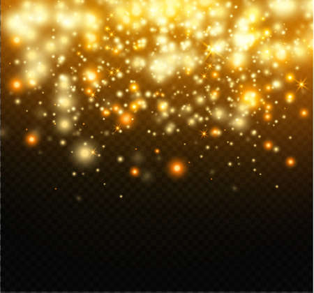 Dust on a transparent background.bright stars.The glow lighting effect.