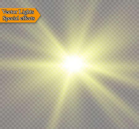 Ster op een transparante achtergrond, licht effect, vectorillustratie. Barsten met fonkelingen. Stock Illustratie