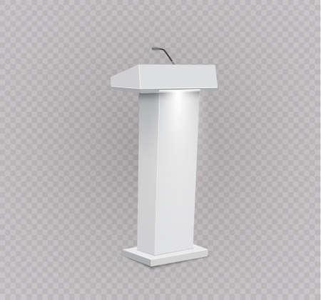Vector Podium Tribune Rostrum Stand with Microphones Isolated.